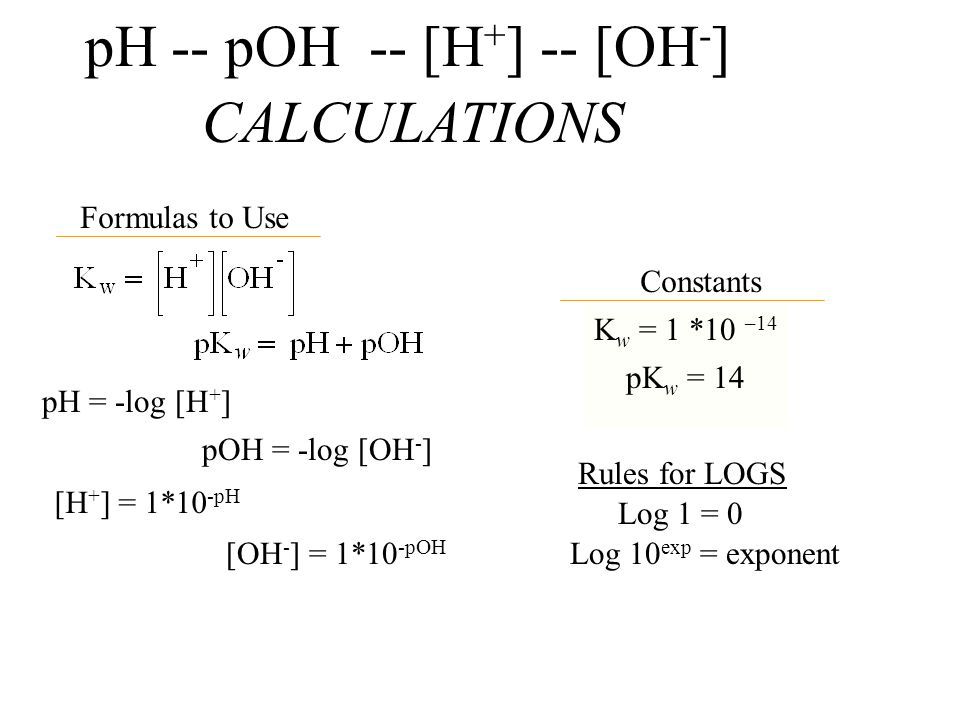 pH -- pOH -- [H+] -- [OH-]